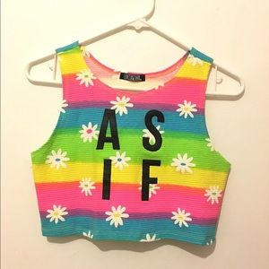 """AS IF"" Rainbow Crop Top"
